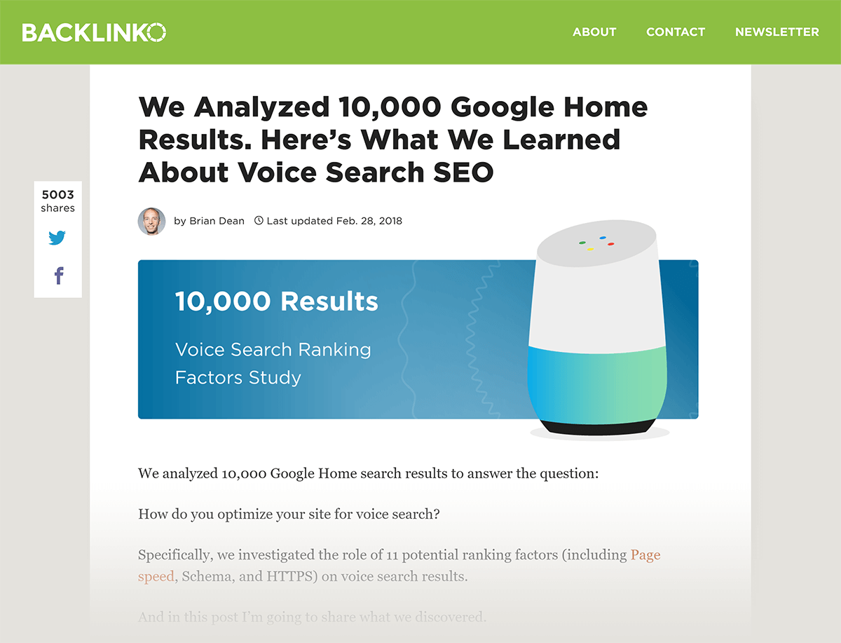"Estudo do Backlinko Post ""Voice Search SEO"""