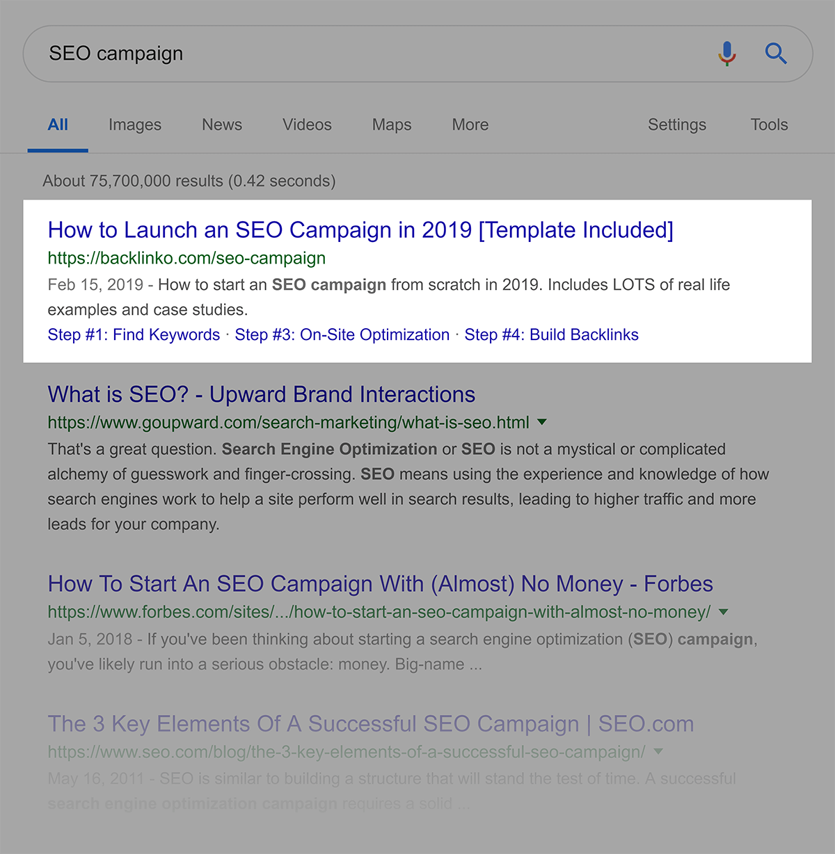 "Rankings do Google para ""Campanha SEO"""