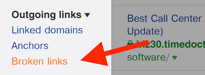 Ahrefs - Links de saída - Menu de links quebrados