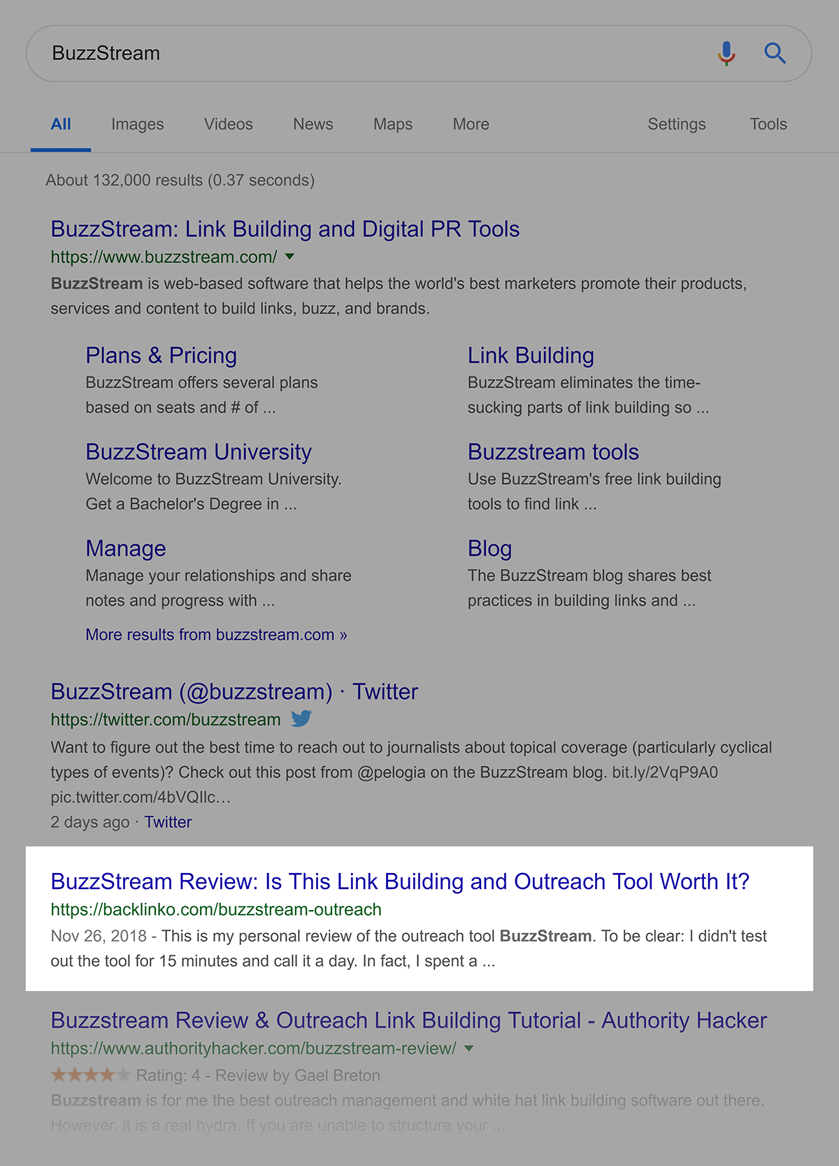 "Ranking do Google para ""BuzzStream"""