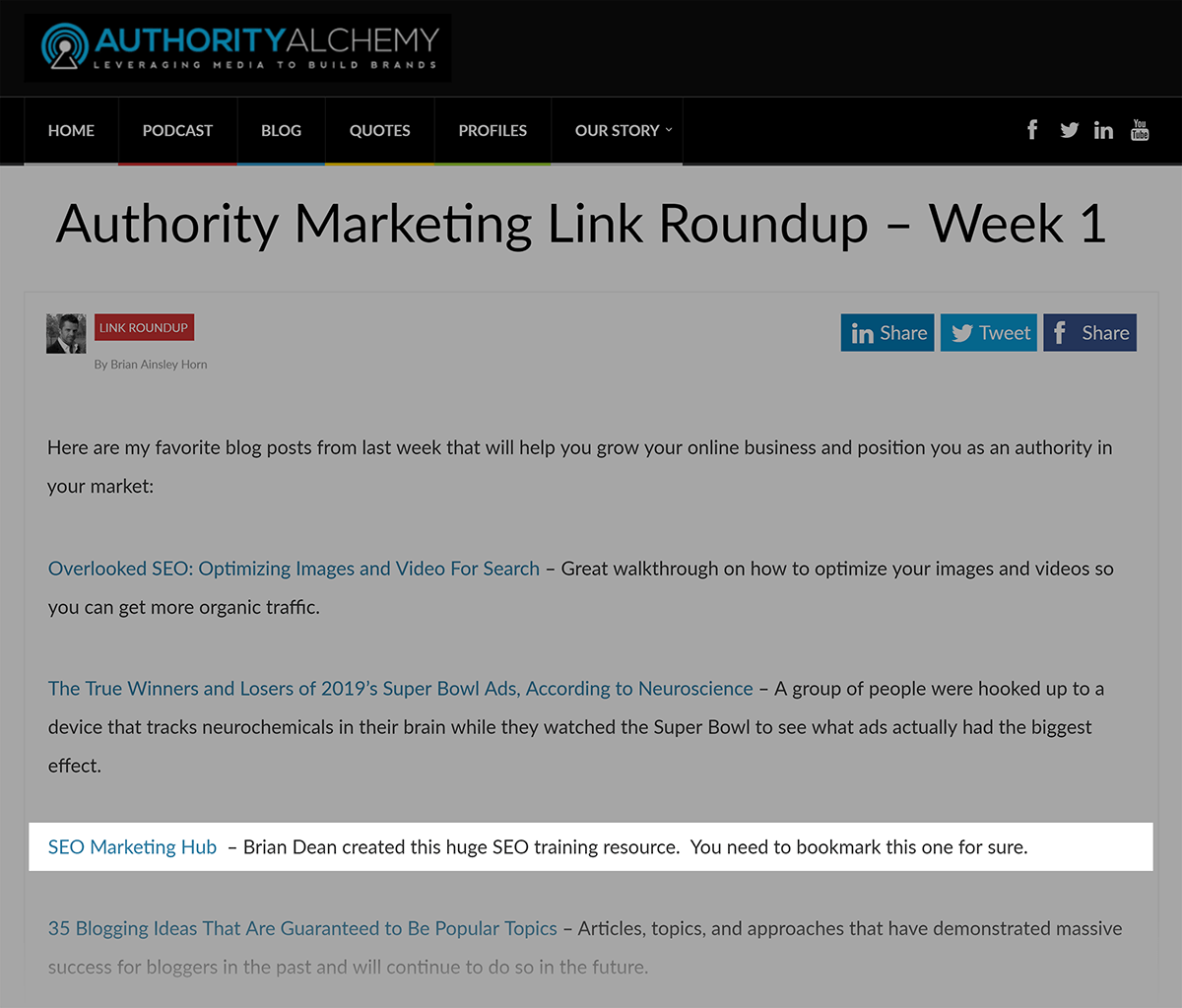 SEO Marketing Hub - Backlink do AuthorityAlchemys Link Summary