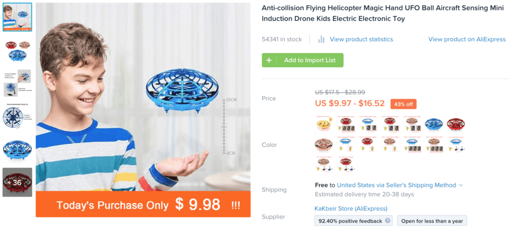 Página do produto Oberlo para Flying Helicopter UFO Toy